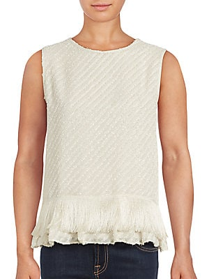 Fringed Hem Sleeveless Top