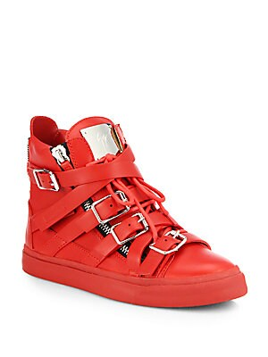 Leather Buckle High-Top Sneakers