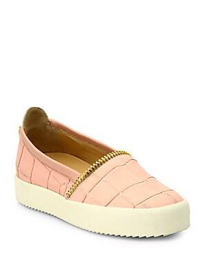Croc-Embossed Leather Slip-On Sneakers