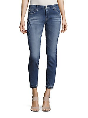 Whiskered Ankle-Length Jeans