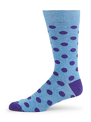 Jasper Polka Dot Cotton-Blend Crew Socks