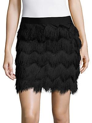 Chevron Patterned Fringe Skirt