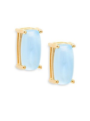 18K Yellow Gold Citrine Cabochon Stud Earrings