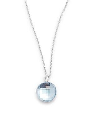 Blue Topaz & 18K White Gold Pendant Necklace