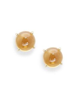 Cocktail Citrine & 18K Gold Stud Earrings