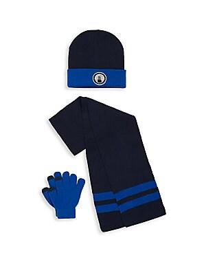 Kid's Three-Piece Hat, Scarf & Gloves Set