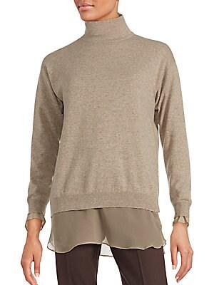 Solid Cashmere Turtleneck Sweater