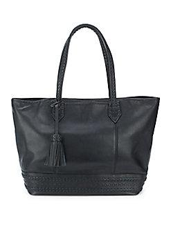 Cole Haan Tassel Leather Womens Tote Handbag (Black / Woodbury)