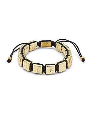 Brass Square Macrame Bracelet