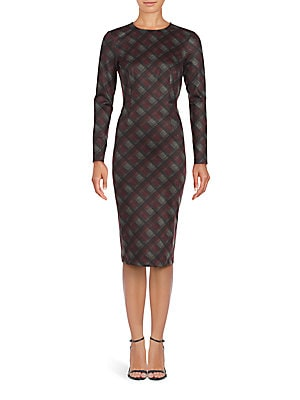 Saks Fifth Avenue Plaid Long Sleeve Sheath Dress | Clothing