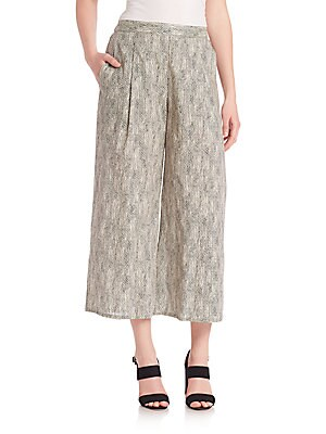 Printed Organic Cotton Cropped Pants