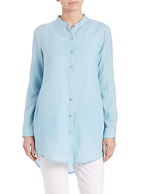 Organic Linen Button-Front Shirt