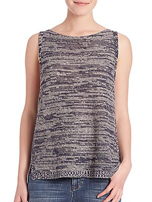 Twisted Blurred Sleeveless Organic Linen Top