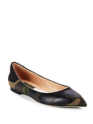 Point-Toe Leather Ballet Flats