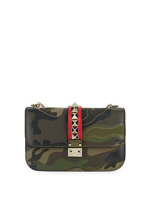 Rockstud Leather & Canvas Camouflage Shoulder Bag