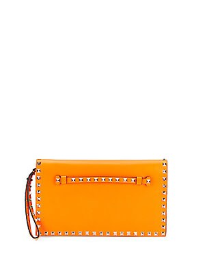 Rockstud Leather Wristlet