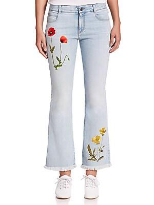 Embroidered Frayed-Hem Jeans