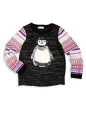 Toddler's & Little Girl's Embellished Penguin Graphic Sweater