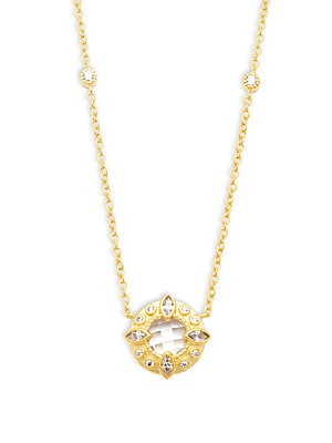 Classic CZ & 14K Gold-Plated Sterling Silver Circle Pendant Station Necklace