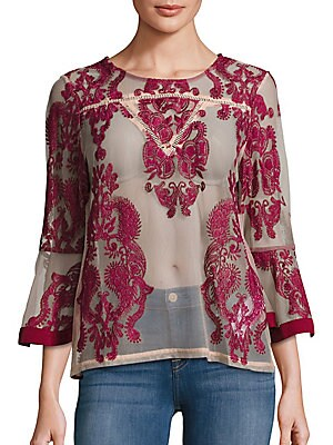 Sweetest Sound Embroidered Sheer Blouse