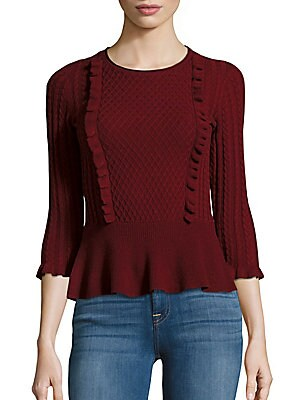 Cable Front Peplum Sweater