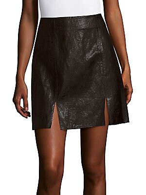 Notched Faux Leather A-Line Skirt