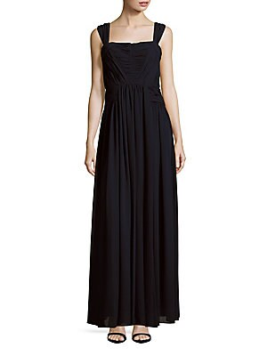 vera wang female sleeveless solid gown