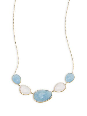 Blue & Rose Quartz 14K Gold Necklace