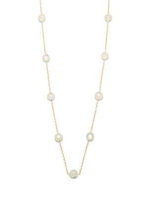 Rainbow Moonstone on 14K Gold Chain Necklace