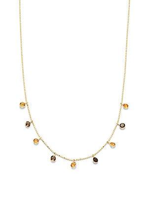 Smoky Quartz & 14K Yellow Gold Chain Necklace