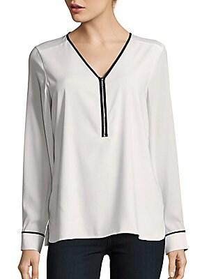 Long Sleeve Half-Zip Blouse