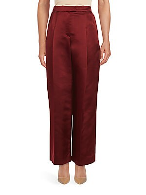 Solid Flared Silk Pants
