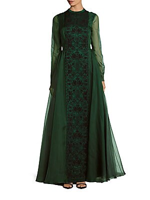 Crewneck Embroidered Silk Gown
