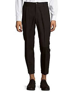 Plaid Wool-Blend Pants