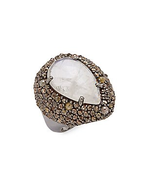 Click here for Diamond  Moonstone & Sterling Silver Ring prices
