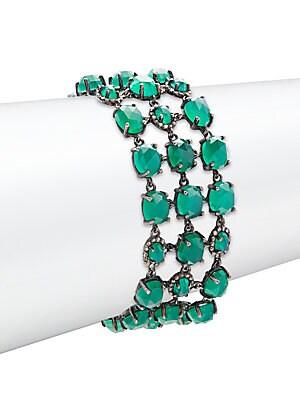 Champagne Pave Diamond, Green Onyx & Sterling Silver Bracelet