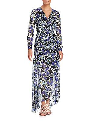 Elaine Ruffled Floral Print Gown