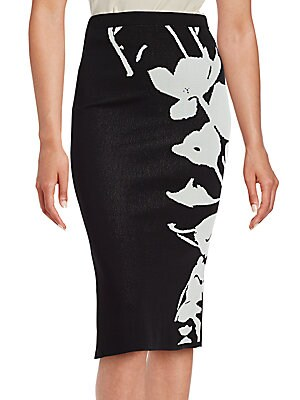 Chenille Floral Pencil Skirt