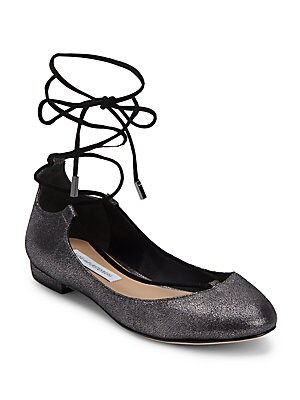 Pewter Lace-Up Ballet Flats