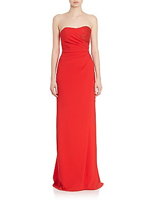Strapless Mock Wrap Gown