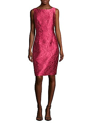 Embroidered Satin Sheath Dress