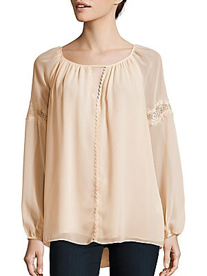 Solid Boatneck Lace Top