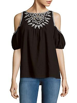Gauge Cold-Shoulder Embroidered Blouse