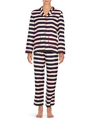 Two-Piece Striped Silk Shirt & Pajama Pants Set