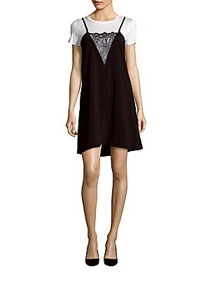 Solid Lace-Trim Tunic Dress