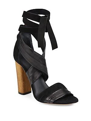 Beatrice Leather & Suede Wraparound Block-Heel Sandals