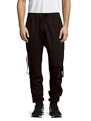 Solid Cotton-Blend Jogger Pants