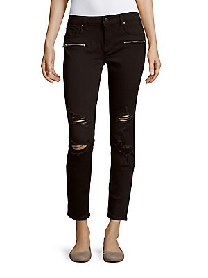 Distressed Skinny-Fit Cropped Pants