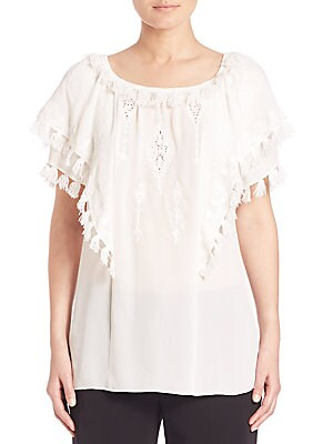 Kerry Embroidered Silk Peasant Blouse