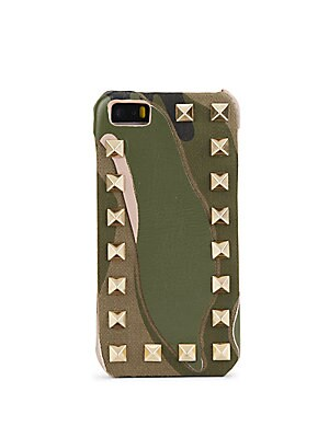 Studded Camouflage Print Leather iPhone 5/5S Case